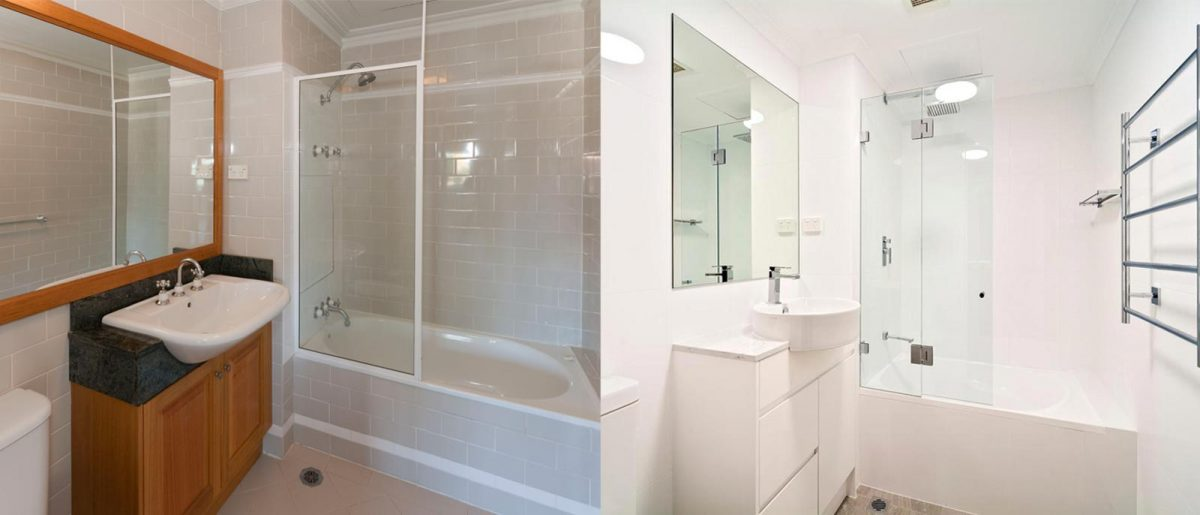 Apartment renovation Sydney Cremorne bathroom before after photo renopack