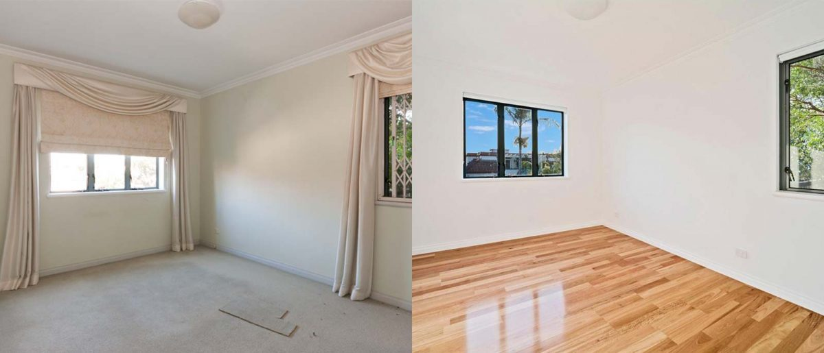 Apartment renovation Sydney Cremorne bedroom before after photo renopack