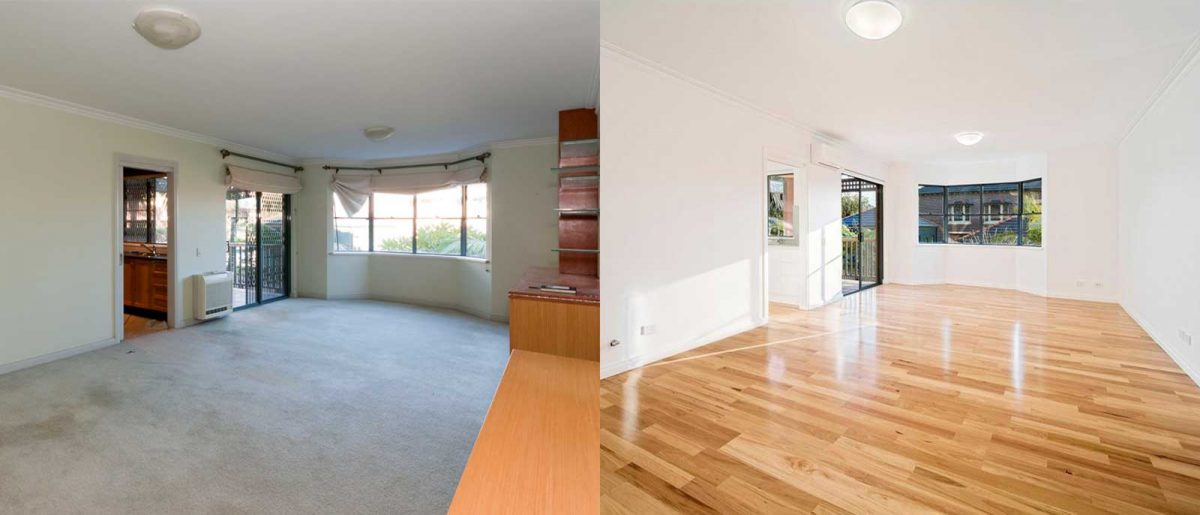 Apartment renovation Sydney Cremorne living before after photo renopack