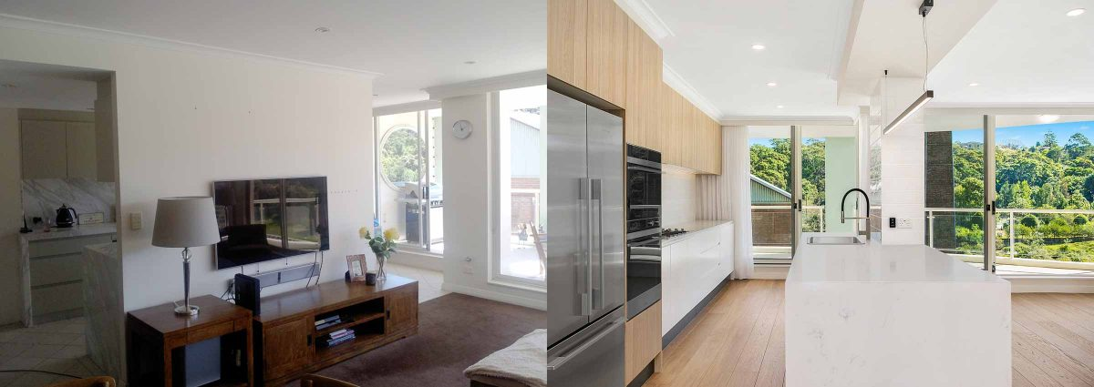 Apartment renovations Sydney Renopack smart stone cararra kitchen before after photo