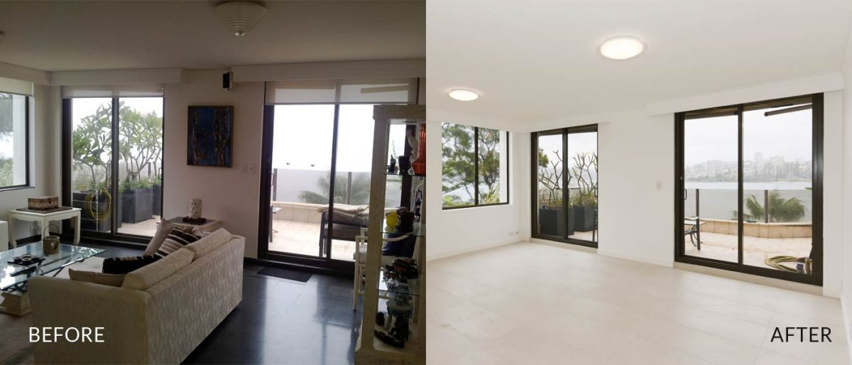 Apartment renovation Sydney Manly living before after photo renopack