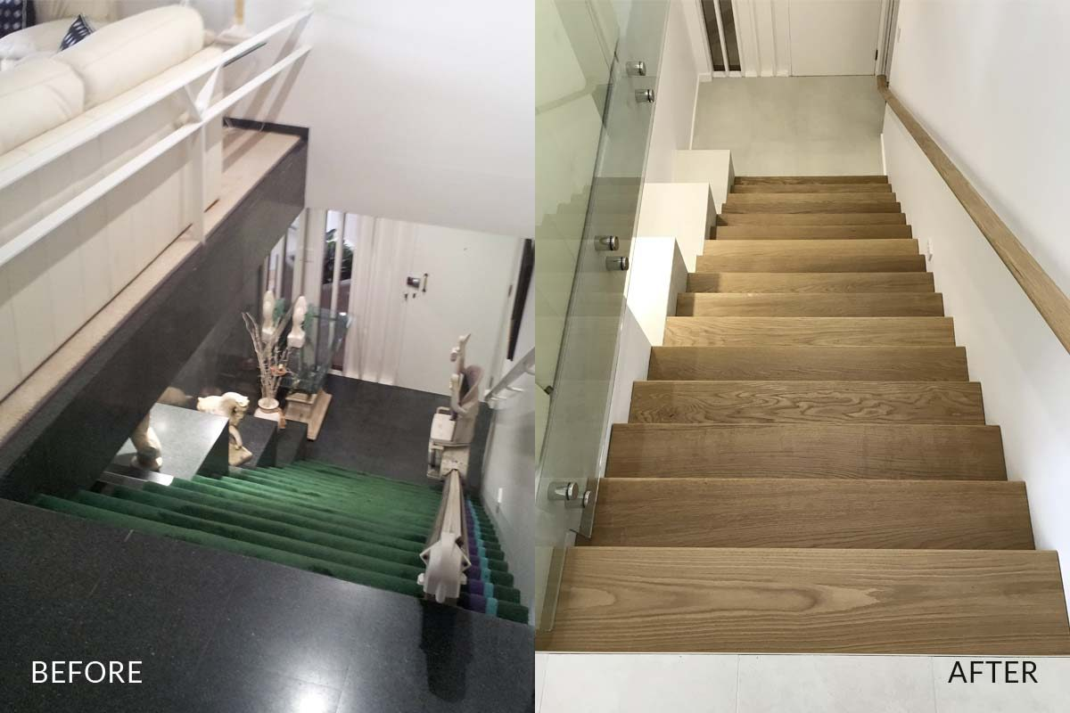 Apartment renovation Sydney Manly stairs before after photo renopack