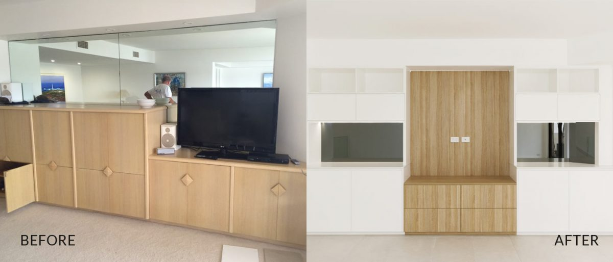 Apartment renovation Sydney Manly tv unit before after photo renopack