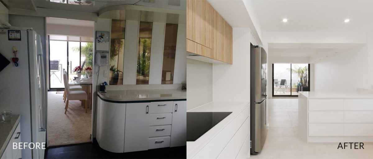 Apartment renovation Sydney Manly kitchen before after photo renopack