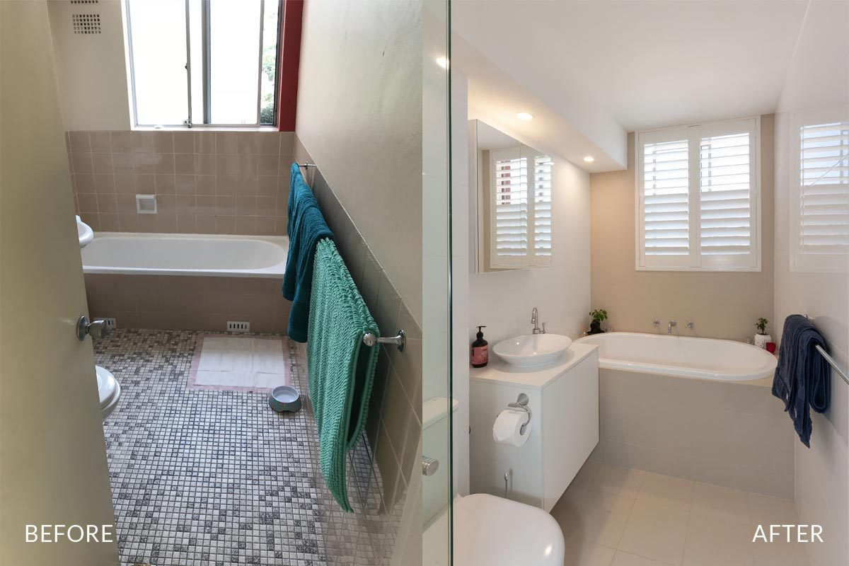 Apartment renovation Sydney bathroom renovation Chiswick bathroom before and after Reno Pack