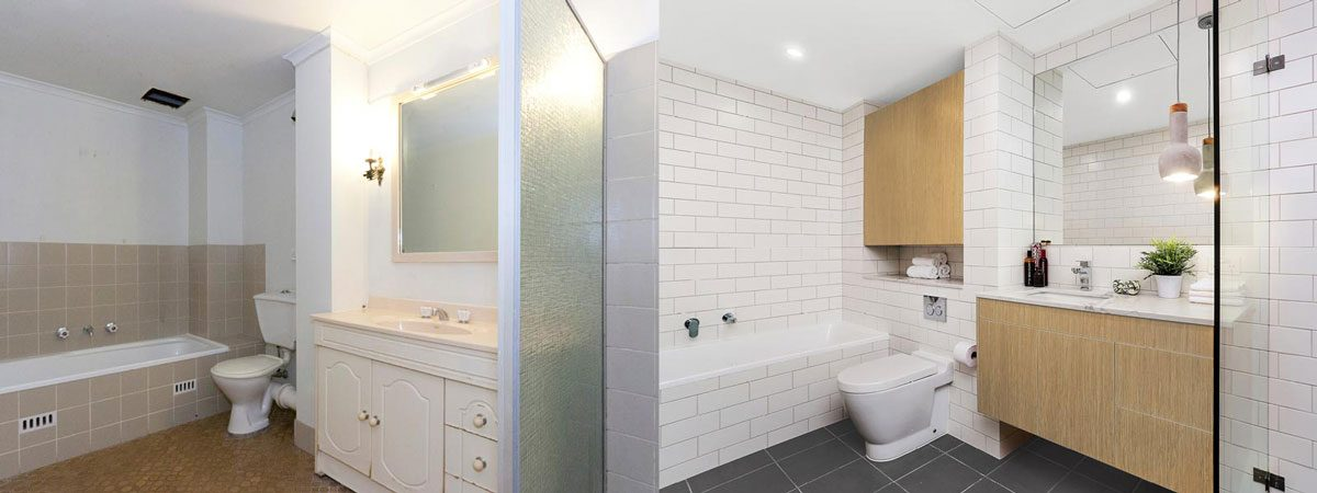 Apartment renovation Sydney bathroom renovation Neutral Bay before and after Reno Pack