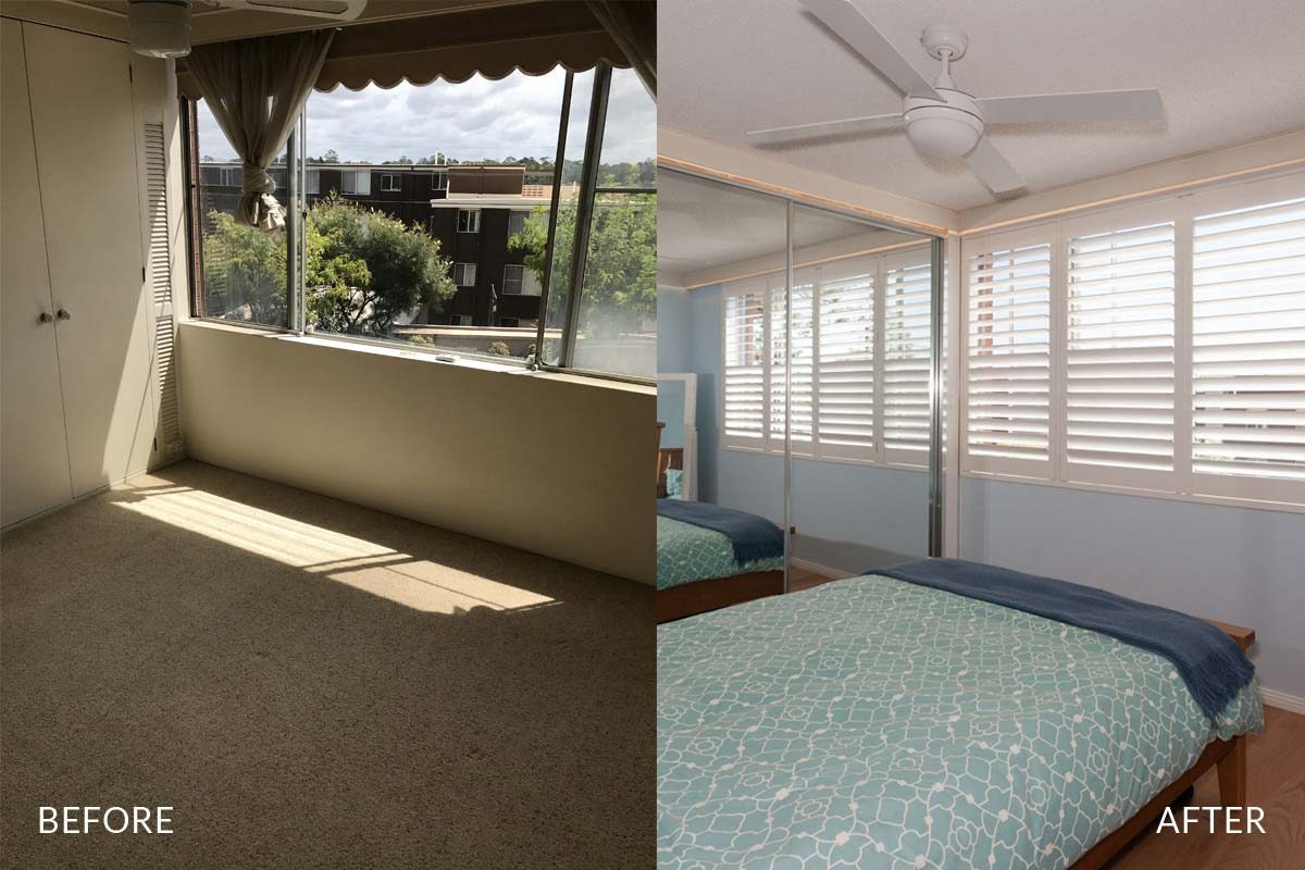 Apartment renovation Sydney unit renovation Chiswick bedroom before and after Reno Pack