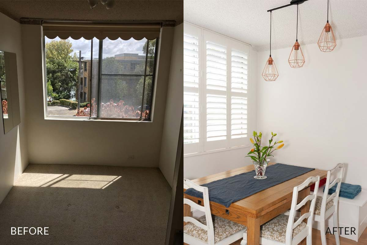 Apartment renovation Sydney unit renovation Chiswick dining before and after Reno Pack
