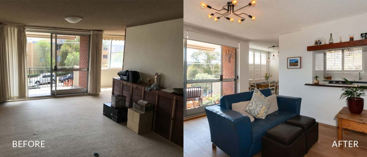 Apartment renovation Sydney unit renovation Chiswick living room before and after Reno Pack