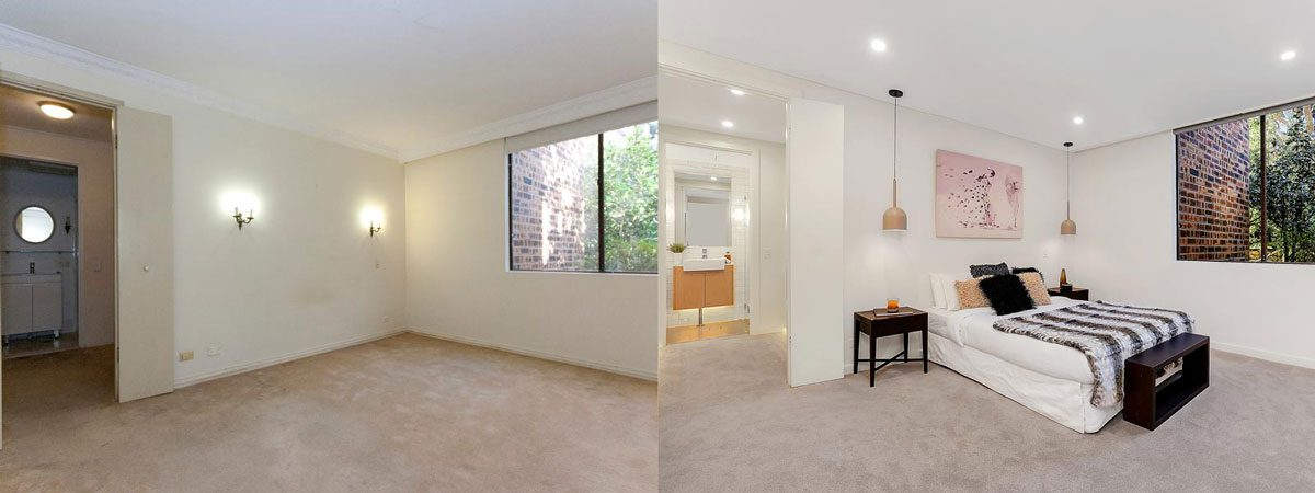 Apartment renovation Sydney unit renovation Neutral Bay bedroom before and after Reno Pack