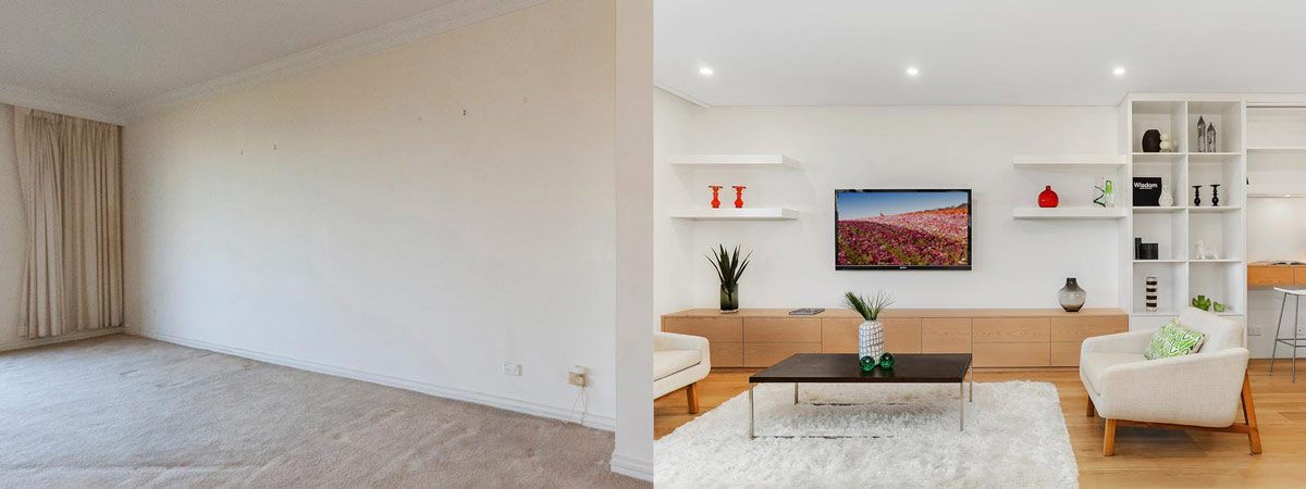 Apartment renovation Sydney unit renovation Neutral Bay living room before and after Reno Pack