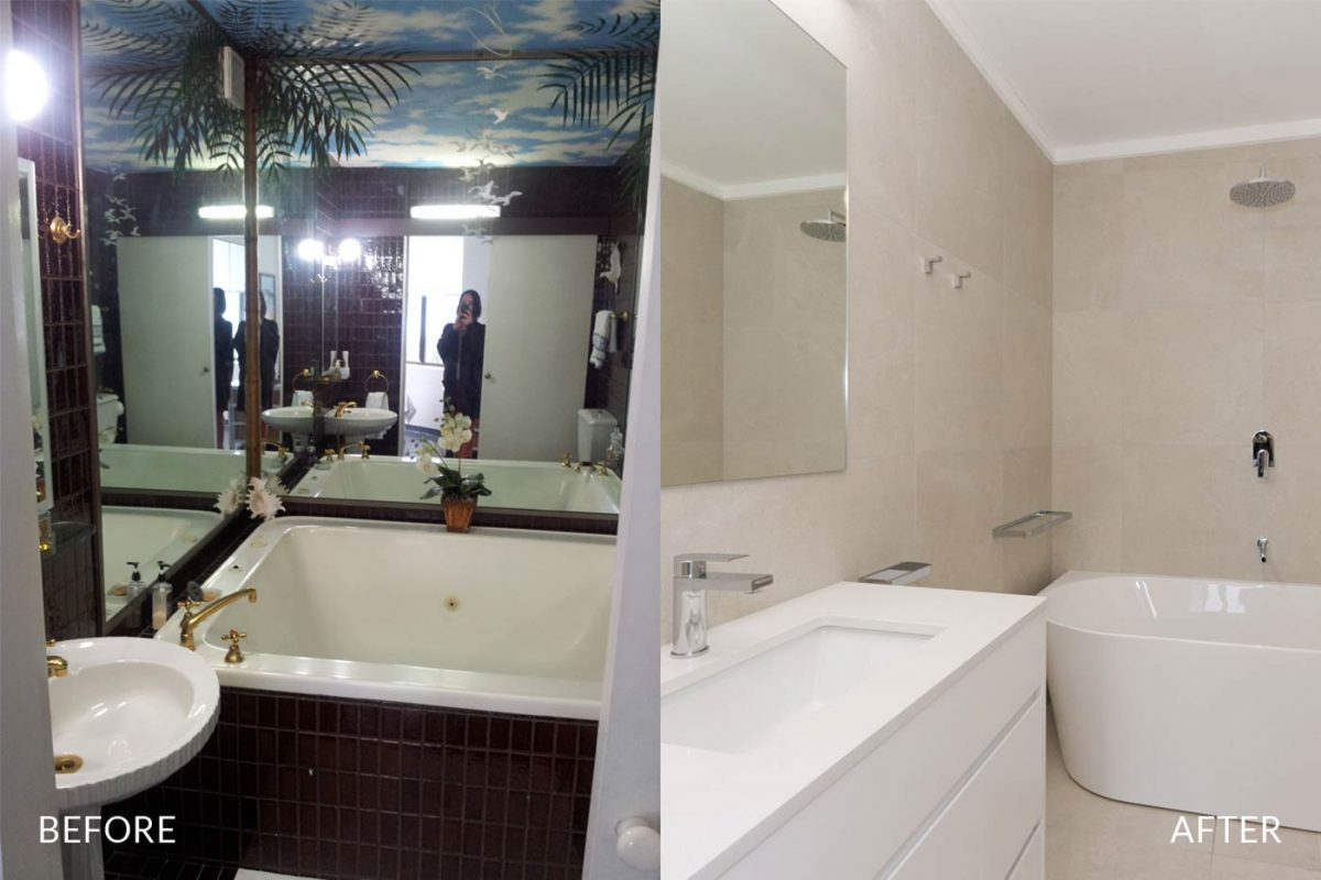 Apartment bathroom renovation Sydney Manly before after photo Reno Pack