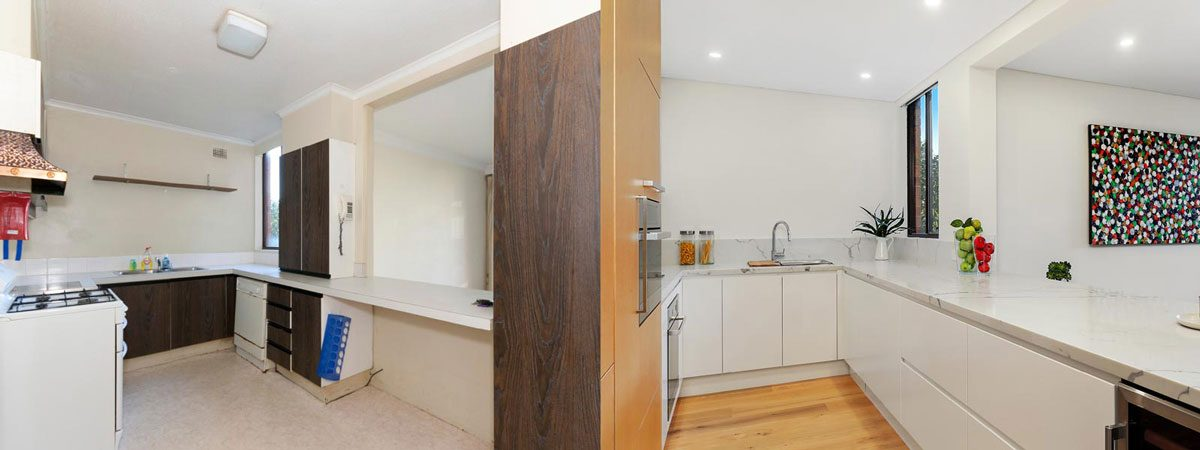 Apartment renovation Sydney kitchen renovation Neutral Bay before and after Reno Pack
