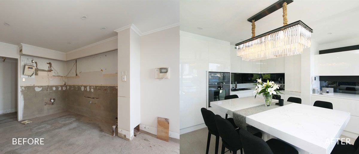 Apartment renovation Sydney, unit renovation McMahons Point, before after kitchen
