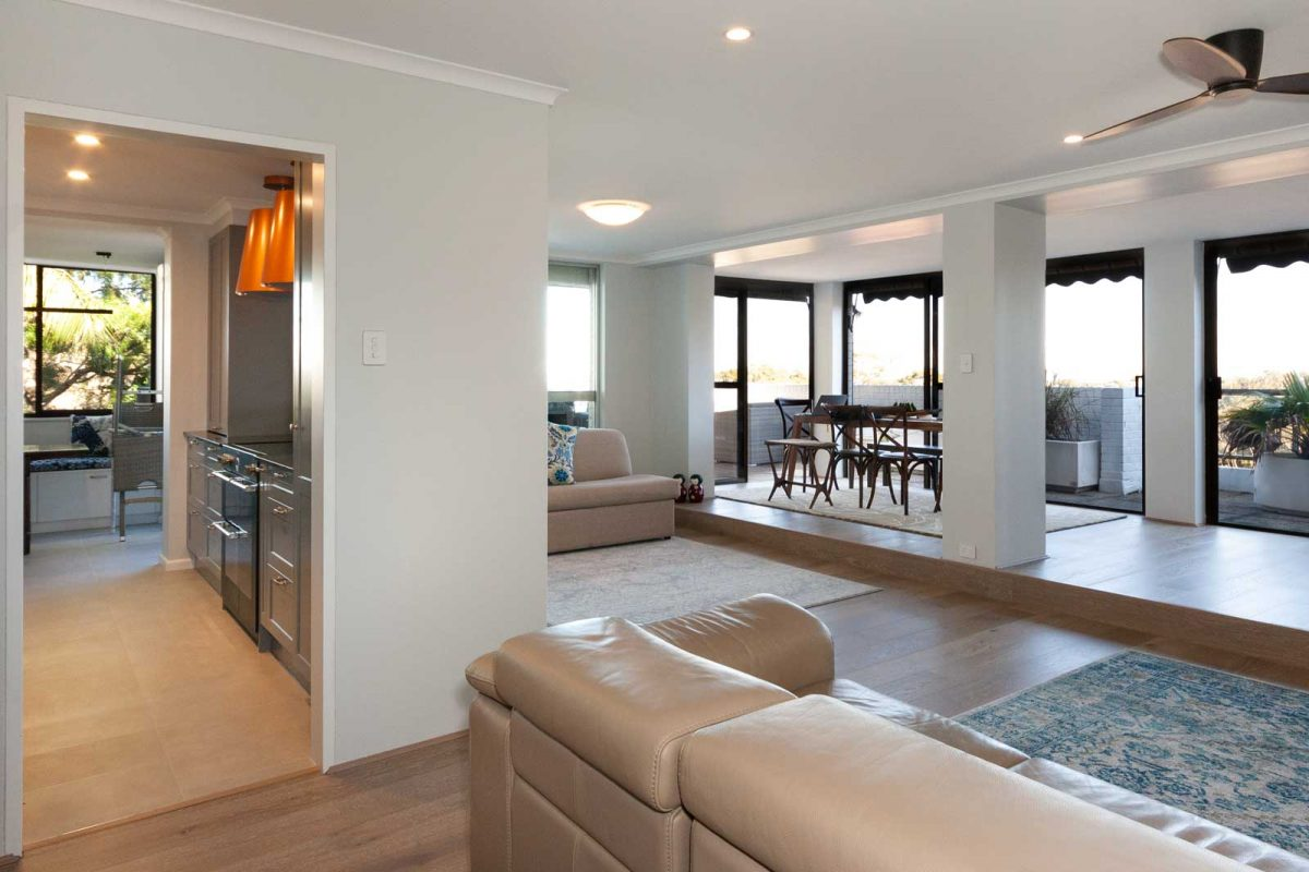 Apartment renovation Sydney, unit renovation Wollstonecraft, kitchen, living room by Reno Pack
