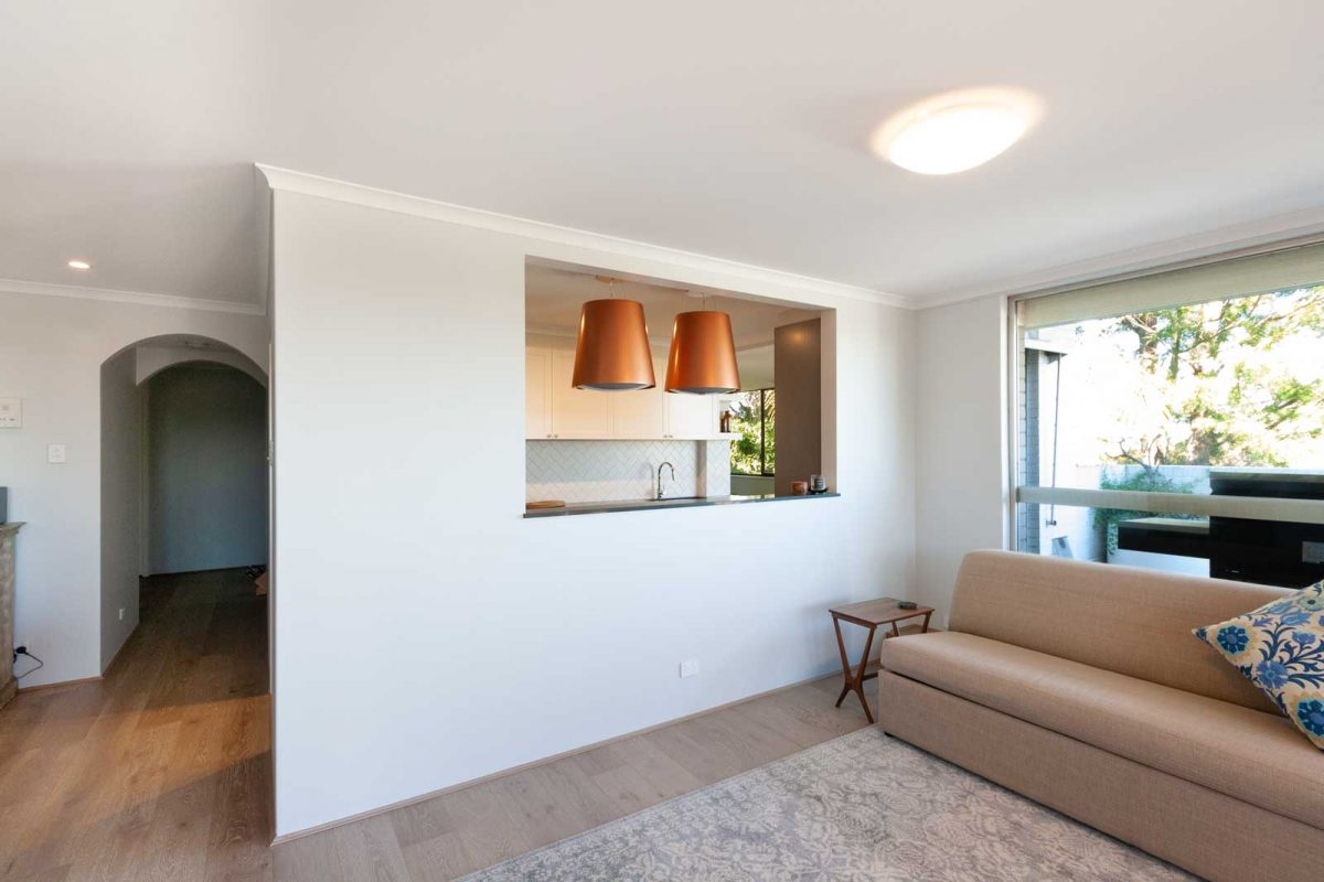 Apartment renovation Sydney, unit renovation Wollstonecraft, living room wall opening by Reno Pack