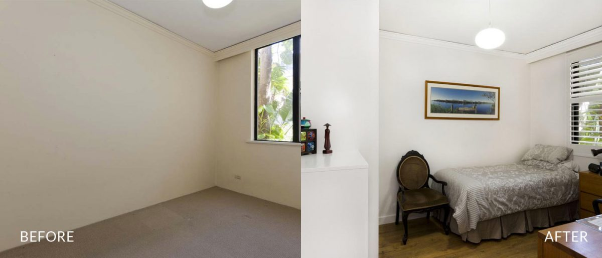apartment renovation Sydney unit renovation Vaucluse bedroom before after Reno Pack