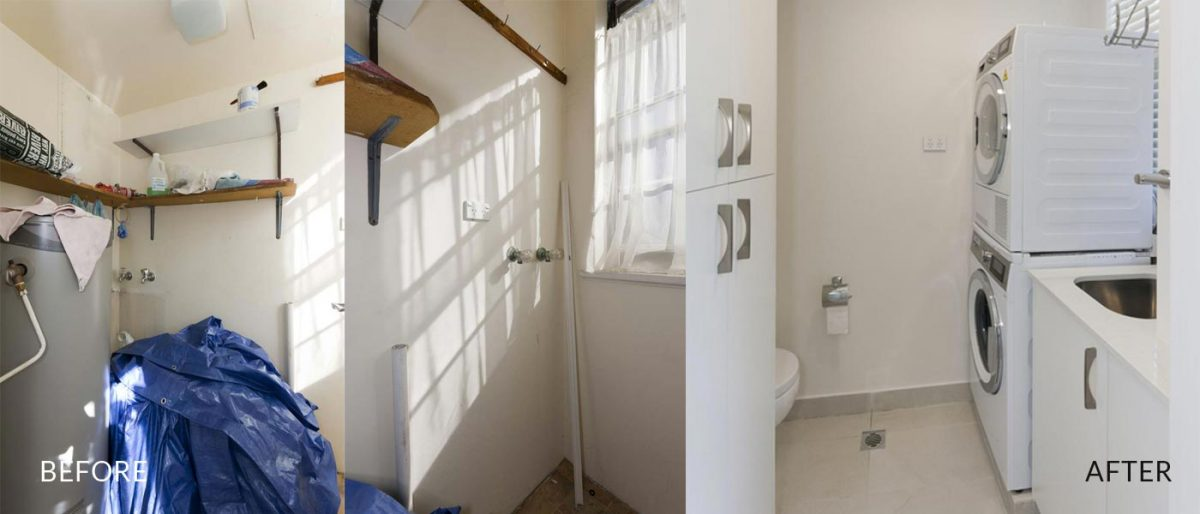 apartment renovation Sydney unit renovation Vaucluse laundry before after Reno Pack