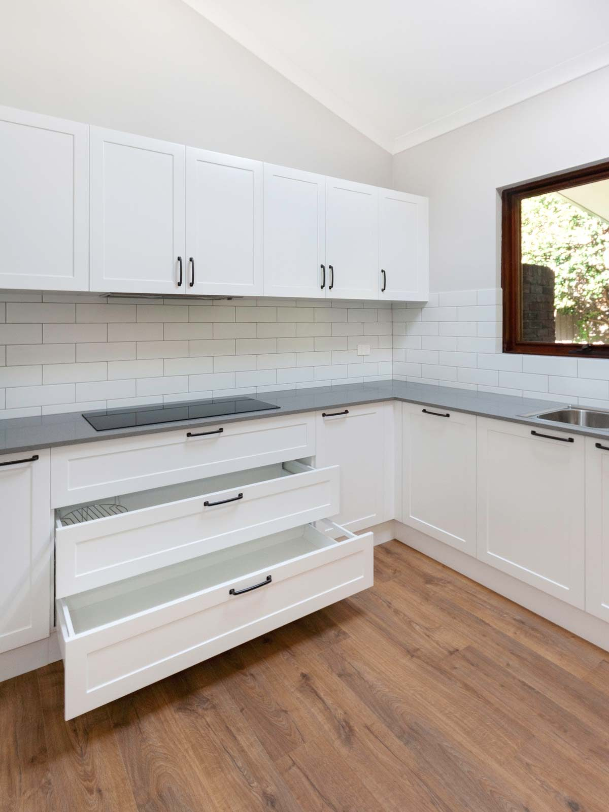 Caesarstone Oyster home renovation Sydney Castle Hill Reno Pack kitchen wide drawers